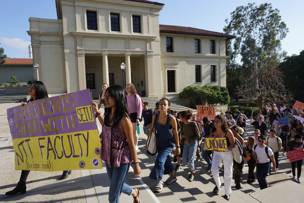 Students and faculty march for non-tenure track faculty